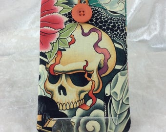 Handmade Phone Glasses Case Cover Pouch  Gothic Alexander Henry Skulls Zen Charmer