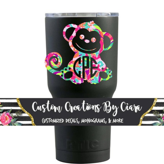 Lilly monkey monogram decal custom monkey sticker yeti cup