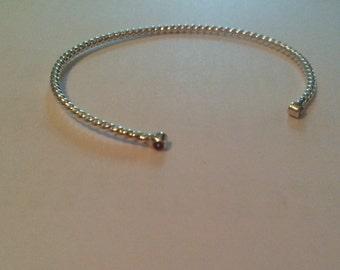 Argentium silver cuff with Natural 2mm gemstones, shown with pink tourmaline,
