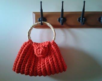 The bamboo handles red crochet handbag