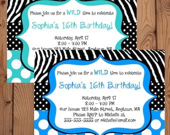 Teal Zebra Invitation - Zebra Birthday Invitation - Digital Zebra Invitation - Printable Zebra Invite - Zebra Birthday Party - Blue Zebra