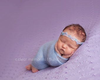 Embroidered Lace Headband, Baby Photo Prop, Turquoise and Silver Beaded Headband, Newborn Beaded Headband, RTS