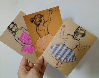 set of 3 art postcards
