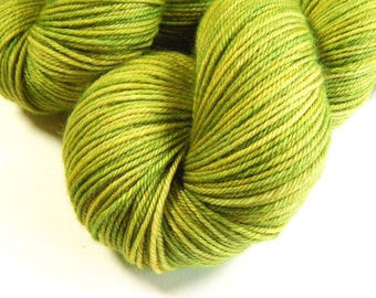 Hand Dyed Yarn, Sport Weight Superwash Merino Wool Yarn, LETTUCE TONAL, Knitting Yarn, Sock Yarn, Sport Yarn, Bright Green Yarn