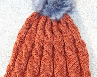 100% Wool Rust Orange Ladies Cable Hand Knit Hat with Faux Fur Pompom