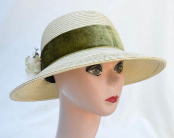Vintage Inspired Cream Straw Hat with Olive Velvet Ribbon And Flower Trim / Cream 3 Inch Front Brim Hat / Downton Abbey Inspired Hat