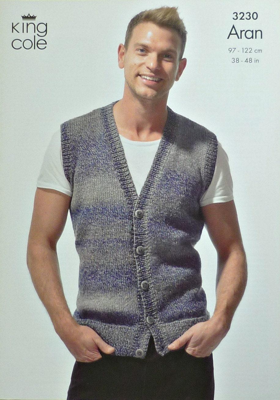 Mens Knitting Pattern K3230 Mens Easy Knit Buttoned Waistcoat