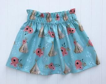 Teepee Ruffle Skirt - girls skirt, toddler skirt, party skirt, teepee skirt, blue skirt, cotton skirt, floral skirt