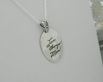 Handwriting Jewelry in Memory of Mom Signature Necklace Personalized in Sterling Silver