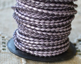 1 meter of 3mm Chandni Berry Purple Braided Bolo Round Leather Cord Metallic