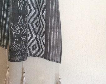 Beautiful bohemian chic SCARF - block printed linen -