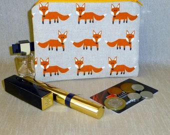 Woodland Coin Purse, Fox Coin Purse, Fox Makeup Bag, Fox Medicines Bag, Woodland Makeup Bag, Woodland Medicines Purse, Fox Purse,