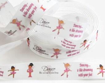 "Ballerina Grosgrain Ribbon 5 yards White w/ Ballerina Print 1"" for Hair Bows Dance Recital Pink Tutus Dancer ""Dance Like No One is Watching"""