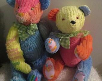 Handmade pair of chenille bears