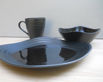 Mikasa Swirl Black Square Three Piece Dinnerware Set & Square dinnerware | Etsy
