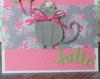 Hello Shabby Chic Cat Card
