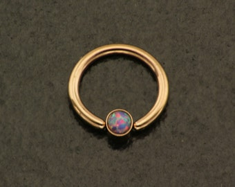 Opal Rose Gold Daith Piercing. 16 Gauge Cartilage Earring. Fire Opal Rose Nose Ring. Cartilage Hoop. Rose Gold Septum. Purple Stone Daith.