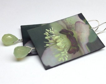 Photo Paper Earrings, Hellebore Blossoms with Jade Teardrops, Flower Earrings, Lime and Pink
