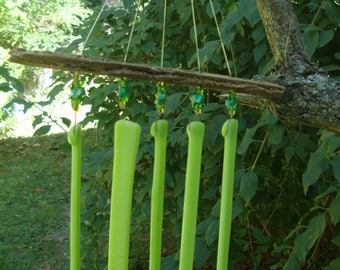 Green Fused Glass with Driftwood Windchime
