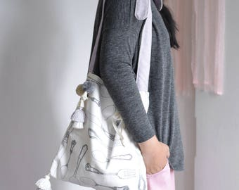 Bon Appétit tassel crossbody bag white and light purple shoulder bag. style135D. Ready to ship