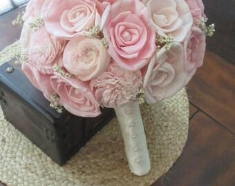 Sola Bouquet, Sola Pale Pink blush,and cream Bouquet, Vintage Bouquet, Alternative, keepsake Bouquet, Sola flowers, Wood Boquet