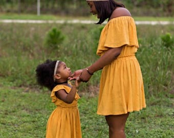 Women's (XS-XXXL) Mustard Yellow Off The Shoulder Ruffle Dress. Mommy and Me Dress. Bridesmaid. Wedding. Daughter. Fall, Spring, Summer