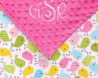 Personalized Toddler Girl Blanket , Urban Zoologie Birds in Spring and Minky Dot - Embroidered Blanket with Name , 36x40