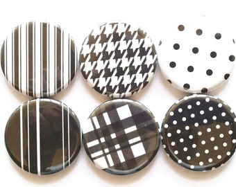 Magnets Black and White Fridge Magnets Classic Herringbone Dots Designs Refrigerator Magnets Sophisticated White Black Magnets, Set of 6