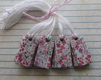 26 Price tags / merchandise tag wildflower pink/purple paper covered chipboard pre-strung