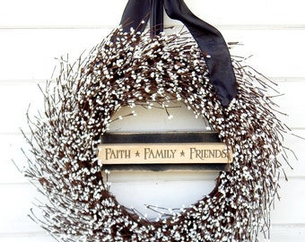 Door Sign-White Wreath-Fall Wreath-SCENTED Wreath-Outdoor Wreath-Year Round Wreath-Cottage Home Decor-Artificial Wreath-Custom Made USA-Gift