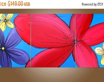 "Wall triptych art ""floral hacienda"" modern painting Abstract Painting flower floral art  huge wall art large 48 x 20 """