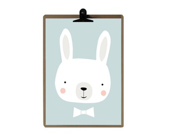 Rabbit nursery print - Blue Nursery art prints - baby nursery decor - nursery wall - Children Art - Kids Room