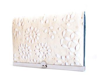 SALE wallet clutch, lace print, silver purse clasp, zipper bag, pale lace petals