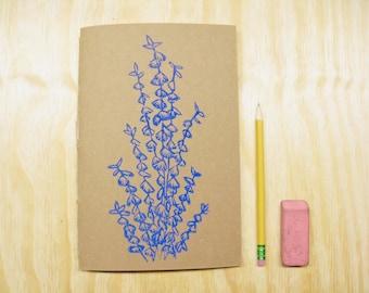 Sketchbook Journal - Purple Eucalyptus - Doodle Book - Block Printed - Hand Bound