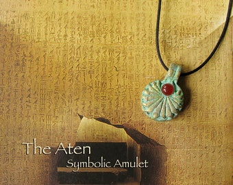 Aten Symbolic Amulet - Egyptian Solar Deity -  Akhenaten's Reign - Handcrafted Amulet - Carnelian Cabochon -Aged Golden Brass Patina Finish