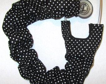 Stethoscope Cover White Polka Dots on Black