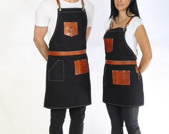 Bartender apron, high quality leather & canvas, with pockets for tools, in many colors (Black-Copper, Olive Green-Coffee Brown) - Johnny B