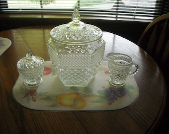 Anchor Hocking Wexford Creamer, Sugar Bowl W Lid And Large Cookie Jar Set Lot