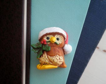 Vintage Owl Brooch - Retro Hallmark Woodland Santa Hat & Holly Berry Owl Christmas / Holiday Brooch / Pin / Jewelry Gift / Stocking Stuffer