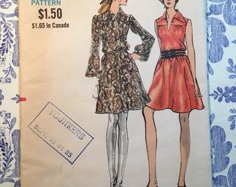 Vogue 7852 COMPLETE vintage pattern Misses' Dress Size 14 circa 1970