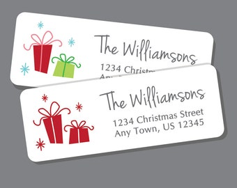 Christmas Address Labels, Holiday Return Address Label Stickers, 60 labels, Christmas Address Stickers, Holiday Labels, Presents