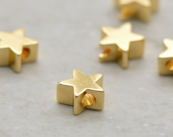 Gold Star Bead, 24k Gold Plated Brass Star Bead, Tiny Delicate Star Bead Finding, Minimal Celestial Jewelry Making Supplies (AU008)