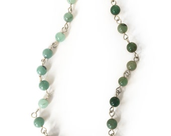 Green Jade Round Beaded Necklace w/ Hammered Brass Toggle Clasp - 18 inches
