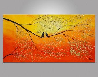 Love Birds Painting Abstract Art Wedding Gift Original Painting Oil Painting Canvas Painting Bedroom Wall Art Canvas Wall Art Modern Art