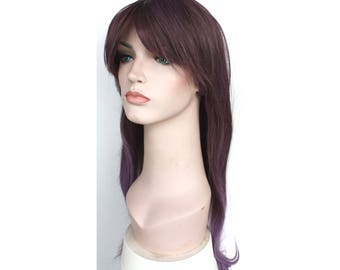 Super long dusty purple ombre straight wig. Synthetic wig. high quality wig. ready to ship.