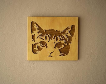 Scroll Saw Cat Picture, Handmade, Picture Art, Wood Decor, Wall Decor, Wall Decoration, Picture Art, Scroll Saw, Cat Art, Art, Decoration