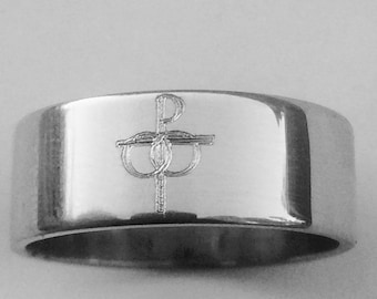 Marriage Wedding Band - Catholic Symbol of Marriage - 7mm Wide Wedding Band - 14k Silver Ring - Marriage Gift Ring - Sterling Silver Ring