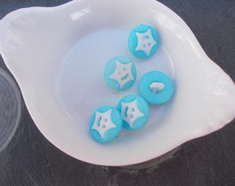 Star Blue and white plastic button