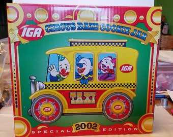 IGA Circus Daze, Cookie 2002 Clown Taxi, team IGA, mint in box, excellent, Cookie, advertising, cookie jar