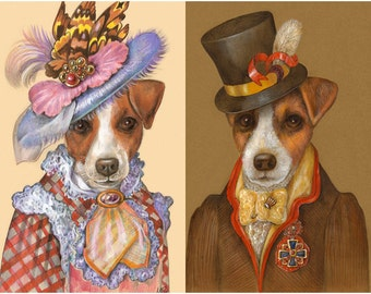 Jack Russells on a Date - 2 Art Prints - Mademoiselle and Dog Juan - Jack Russell Terrier Prints - Funny Pet Portraits by Maria Pishvanova